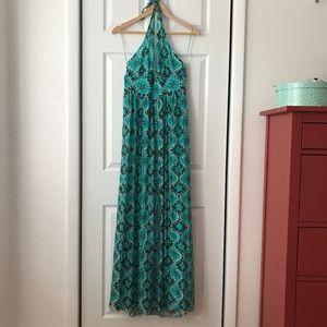 Milly Teal Floral Halter Top Silk Maxi Dress